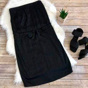 Vince. Black Satin Strapless Blouson Dress
